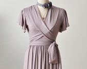 Maxi Wrap Dress- Bridesmaid Dress In Rosy Sand / Lilac Wrap Dress With Short Ruffled Sleeves , Custom Dress