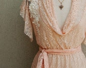 Lace Top- Peach Lace Tunic With Short Sleeves And Belt In Peach, By Lirola - Lirola