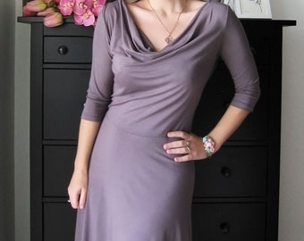 Reserved for Sharon 3/4 Sleeve Dress, Cowl Dress, Autumn Dress, A Line Dress (lavender sold out)