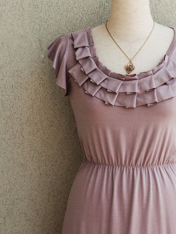 Pleated Neckline Dress With Ruffled Sleeves