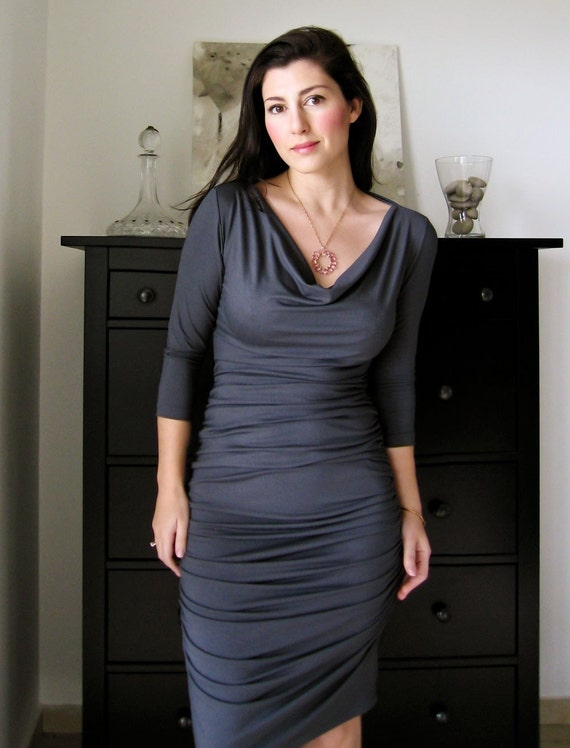 Shirred Dress With Cowl Neckline In Steel Grey With 3/4 Or Long Sleeves