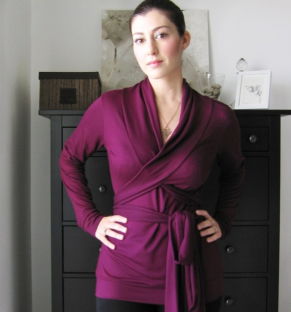 Wrap Top - Long Sleeved Top With Shawl Collar , Women's Wear By Lirola