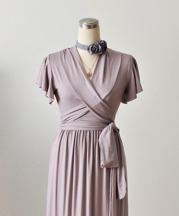 Maxi Wrap Dress- Bridesmaid Dress In Rosy Sand / Lilac Wrap Dress With Short Ruffled Sleeves , Custom Dress