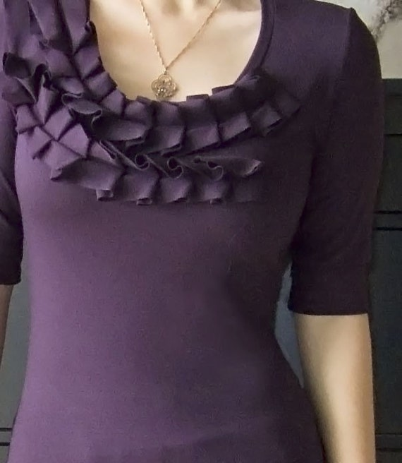 Pleated neckline top  ( short or long sleeve )