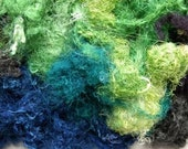 Handdyed Degummed Throwsters Silk, green, gray, blue, navy, turquoise, 2687