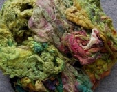 Handdyed Silk Noil, gold, lime, pale green, hint of pink, 2716