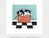 "6x6 PRINT (OE) - ""Special Delivery"" Cat Art by Lisa Marie Robinson"
