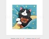 "6x6 PRINT (OE) - Whimsical Cat Art ""Sweet Pea"" by Lisa Marie Robinson"
