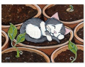 ACEO PRINT  - Love Grows, Cat, Kitten Art by Lisa Marie Robinson - Open Edition