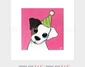 "6x6 PRINT (OE) - ""Party Pooch"" Dog Art by Lisa Marie Robinson"