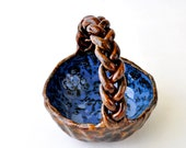 Braid Bowl Candy Dish Ceramic Bowl - Denim and Leather blue  brown pottery dish