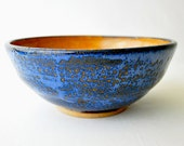 Handmade Medium Ceramic Serving bowl Bowl - Cinnamon and Blue wheel thrown bowl