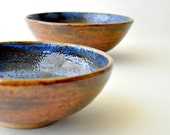 Ceramic Nesting Bowls - Sky Blue and Brown Earth serving bowls (Set of 2)