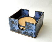 Ceramic Coasters with Holder (Set of 4) Cobalt blue handmade stoneware Serving trivets - GlazedOver