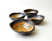 Ceramic Tea Bowls small handmade Hobbit pottery bowls in Blue Green and Amber (Set of 4)