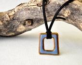 Sky Blue stoneWEAR pendant necklace square geometric charm necklace
