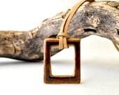 Ceramic necklace - Brown square stoneWEAR pendant geometric charm necklace
