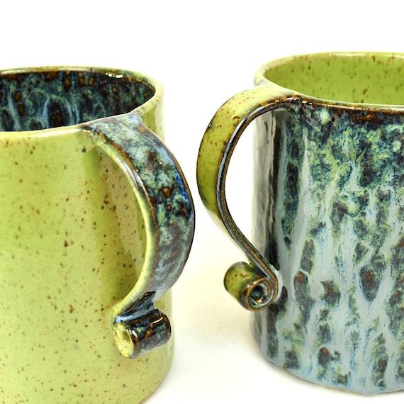 Extra LARGE mugs ceramic stoneware blue and neon green (Set of 2)