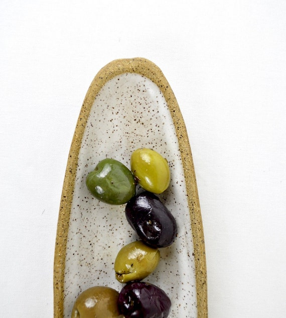 Stoneware Olive Dish handmade ceramic serving plate