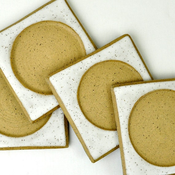 White Ceramic Drink Coasters (Set of 4) handmade stoneware trivets