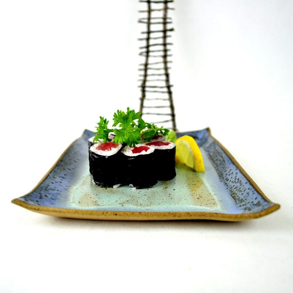 Rectangular Sushi Dishes Handmade Ceramic Plates Set Of 2