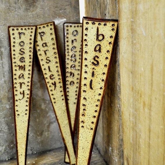 herb garden stakes - Rustic ceramic garden markers (Set of 4)