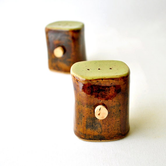 Salt and Pepper Shakers - Avocado Green and Earth Brown spice jars