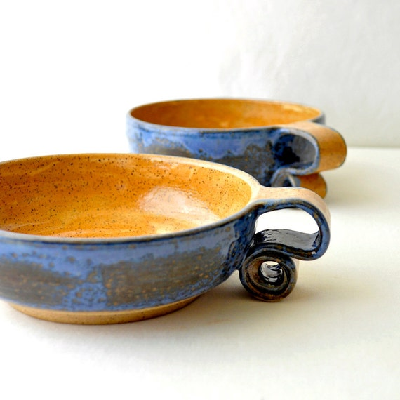 Ceramic Cereal Bowls - scroll handle pottery breakfast dishes
