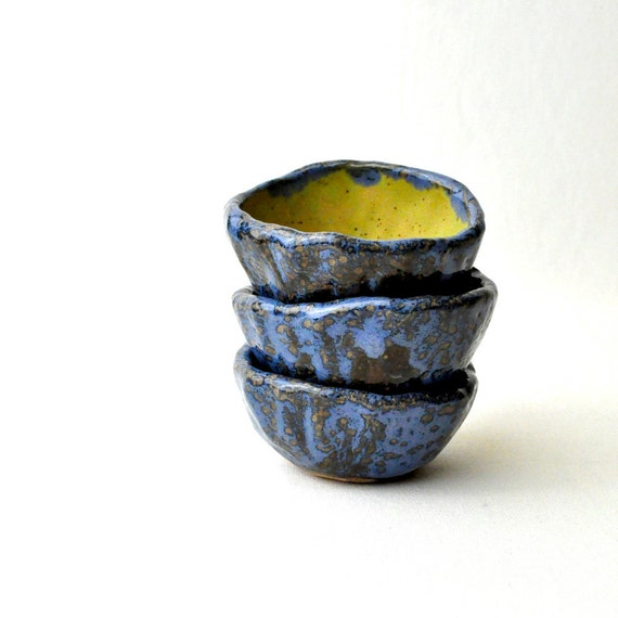 Shot glass cups - Neon Green and Patchy Blue handmade stoneware mini cups (set of 3)