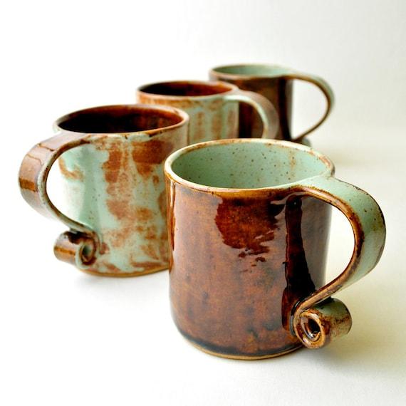 Items similar to ceramic teacups pistachio and brown for Mug handle ideas
