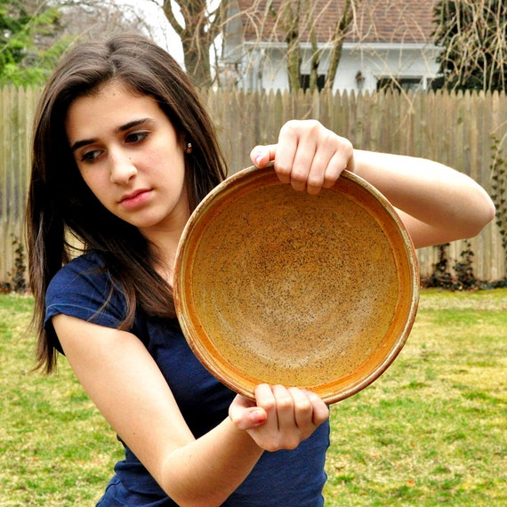 Reserved for Janis - Large Ceramic Serving Bowl in shades of Sienna and Pistachio