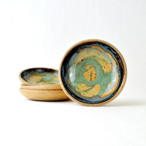 Small pottery finger bowls in Pastel Green and Blue  (Set of 4)