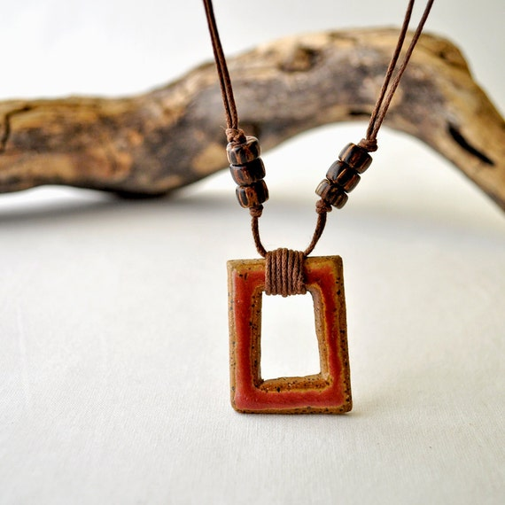 Rose Mauve Square with Pendant necklace with beads - ceramic stoneWEAR charm jewelry