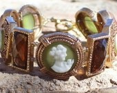 Cameo, Green and Brown Bracelet