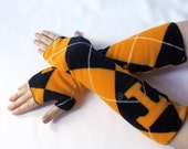 argyle armwarmers made from UNIVERSITY OF TENNESSEE VOLUNTEERS fleece