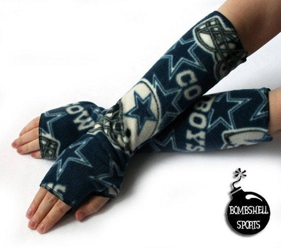 handmade fingerless gloves DALLAS COWBOYS fleece armwarmers - bombshellsports