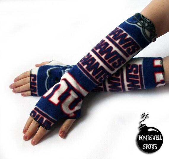 fingerless gloves armwarmers handmade with New York Giants fleece - bombshellsports