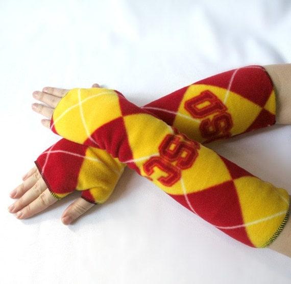 argyle armwarmers fingerless gloves handmade from USC TROJANS fleece - bombshellsports