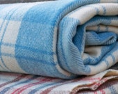 Vintage Welsh blanket. Bluebell & Cream check. Pure wool