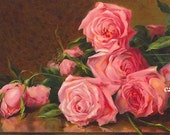 PRINT FREE SHIP Pink Victorian Roses Bouquet Marsh