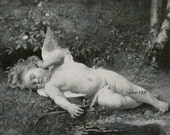 Sleeping Cupid, Art Print, Godey, Half Yard Long, Shabby Chic Decor, Cherub, Angel, Fairy
