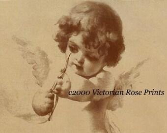 Victorian Cupid, Art Print, Paris, Tojetti, Half Yard Long, Sepia, Shabby Chic Decor