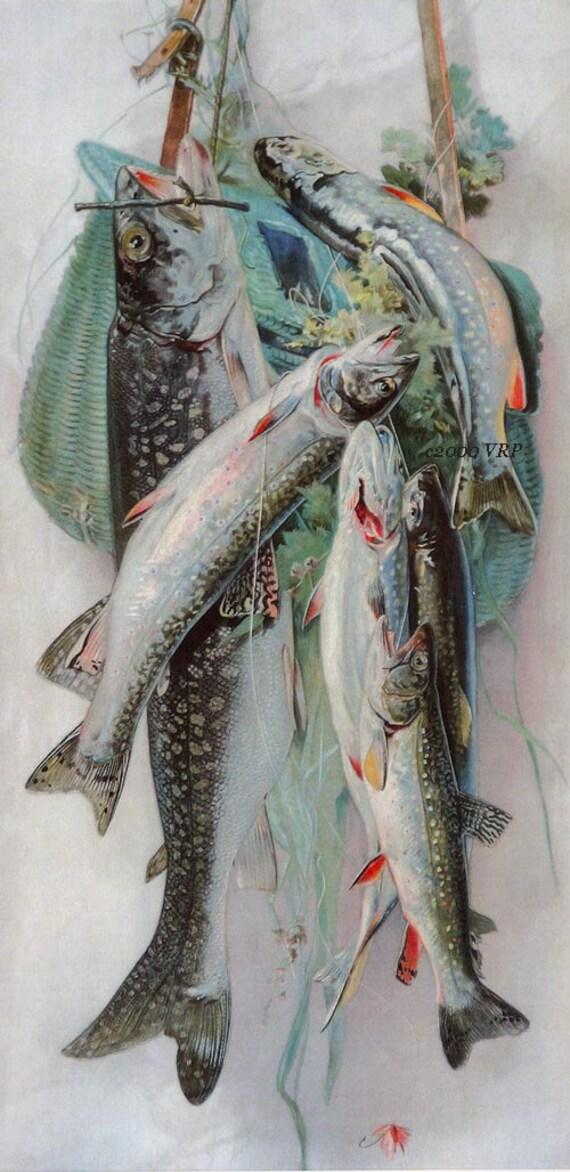 Print free ship fish creel fly fishing print rod half yard for Fly fishing creel
