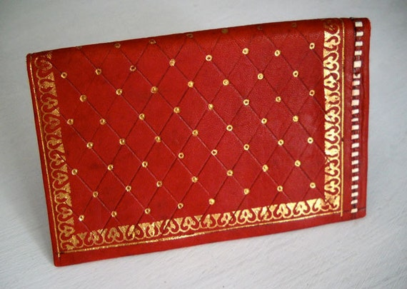Red Leather Wallet with Gold accents