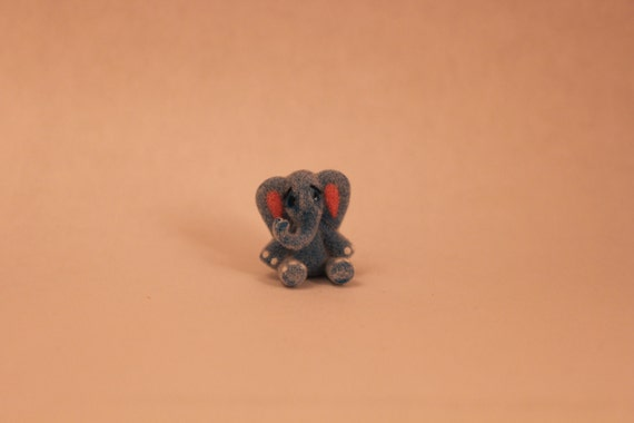 Miniature Handmade Furred Elephant Dollhouse Toy