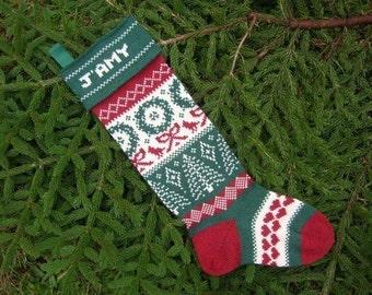 Personalized Handmade Christmas Stocking, Wreath