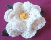 CROCHET PATTERN.number 51..... Old Fashioned Creamy  Bobble center rose , green leaves instruction included..