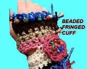 Texting Gloves, Num. 222, ARMWARMER, FINGERLESS GLOVES.  Beaded and Fringed Wrist Cuff.. Permission to sell your finished items