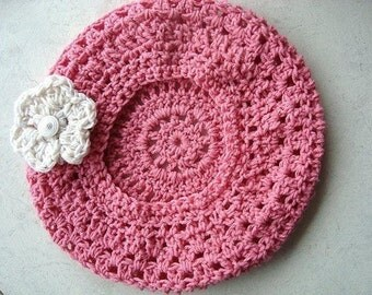 Crochet hat patterns, .PINK SLOUCHIE tam and breast cancer awareness pin or brooch, adult size, 261A