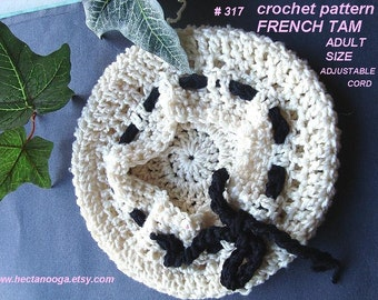 Crochet pattern, hat - crochet hat, crochet hat pattern,  IVORY FRENCH TAM num 317.adult size adjustable cord, preteen, teen and adult